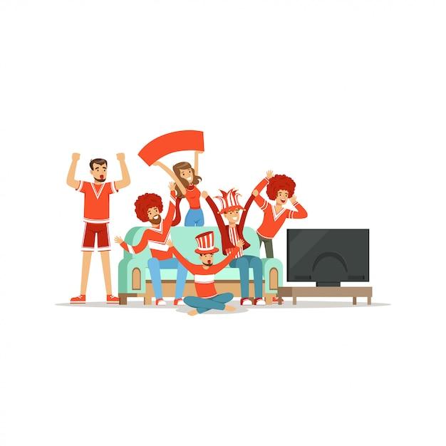 Группа друзей смотрит спорт по телевизору и празднует победу дома. люди, одетые в красное, поддерживают свою любимую спортивную команду иллюстрация Premium векторы