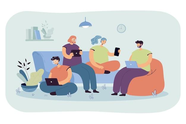 一緒に座って、自宅で会議するデジタルデバイスを持つ友人のグループ。漫画イラスト 無料ベクター