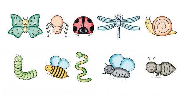 Группа садовых животных kawaii символов Premium векторы