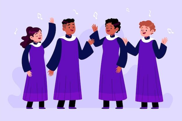 ゴスペル合唱団のイラストのグループ 無料ベクター