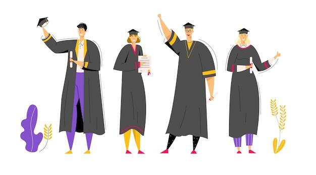 Группа выпускников с дипломом. мужчина и женщина символов градации образования концепции. студент университета, выпускник колледжа. Premium векторы
