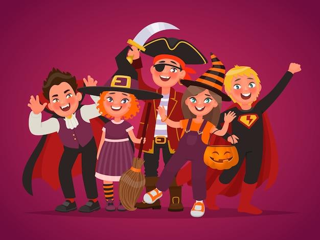 행복 한 아이의 그룹 할로윈 의상을 입고. 속임수 아니면 대우. 포스터 디자인 요소. 만화 스타일의 벡터 일러스트 레이션 프리미엄 벡터