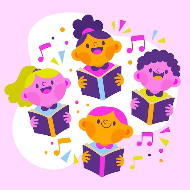 Группа счастливых детей, поющих в хоре, иллюстрированный Бесплатные векторы
