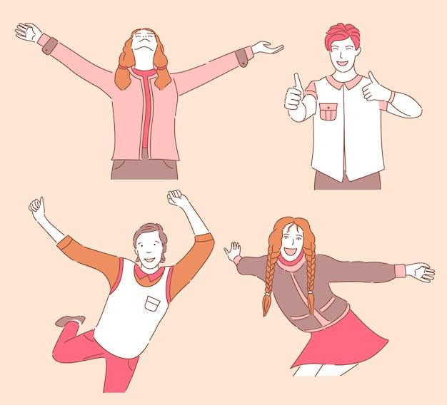 Группа счастливых улыбающихся молодых людей в повседневную одежду, танцы, наслаждаясь, показывает палец вверх. Premium векторы