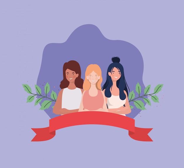 리본으로 서 인종 여자의 그룹 및 잎 무료 벡터