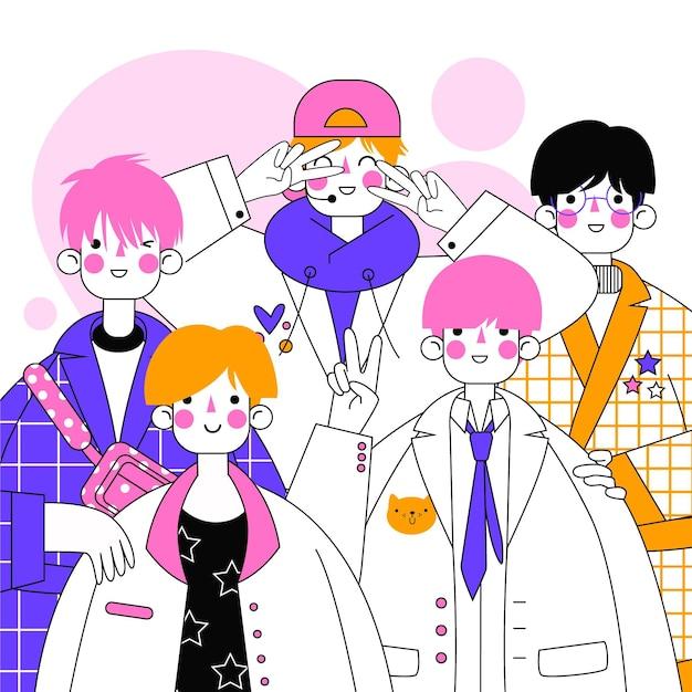 Группа мальчиков k-pop иллюстрации Бесплатные векторы