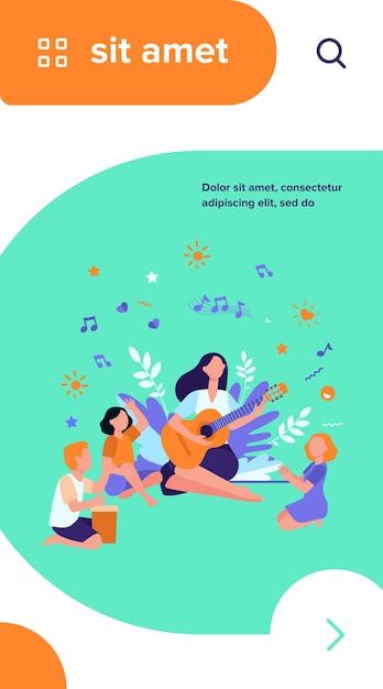 ギターを弾く先生に手をたたく子供たちのグループ。屋外で音楽教室を楽しむ子供たち 無料ベクター
