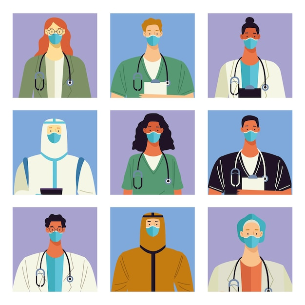 9 명의 의사 의료진 캐릭터 그룹 프리미엄 벡터