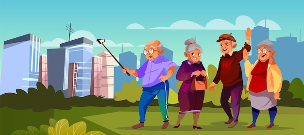 Group of old people with selfie stick at green\ park. Cartoon senior characters making photo.