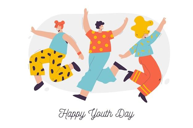 Группа людей, празднующих день молодежи иллюстрированный Бесплатные векторы