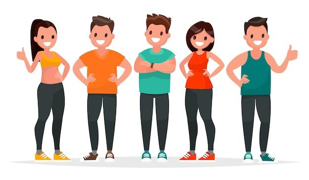 흰색 배경에 체육관에서 운동을 스포츠 옷을 입은 사람들의 그룹 프리미엄 벡터
