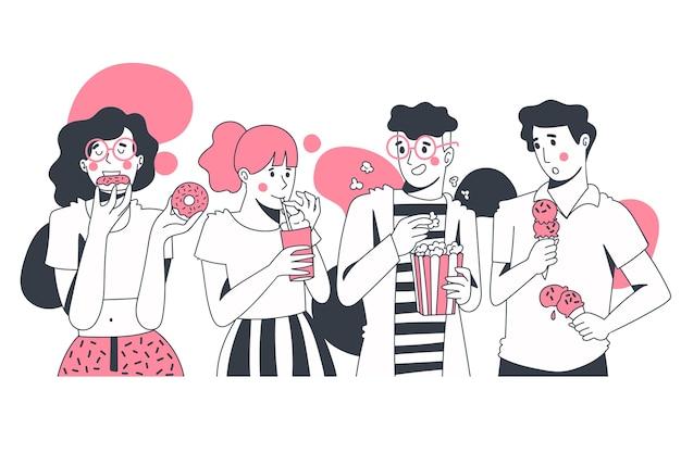 Группа людей, едят закуски Premium векторы
