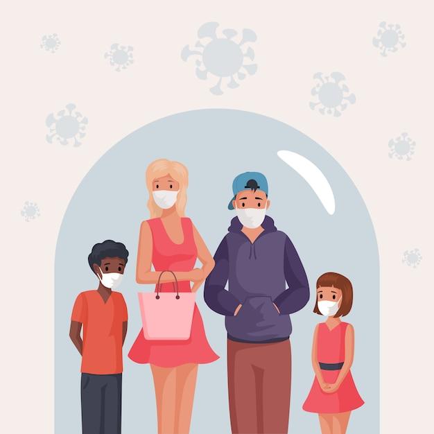 Группа людей, мужчина, женщина и дети в маски, стоя под стеклянным куполом мультфильм иллюстрации. Premium векторы