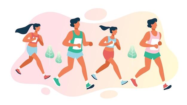 Группа людей на марафоне. соревнования по гонкам на длинные дистанции Premium векторы