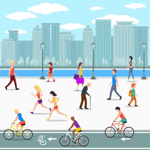 도시 강 거리에 산책로에 사람들의 그룹입니다. 평면 그림. 무료 벡터
