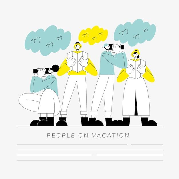 休暇のキャラクターの人々のグループ Premiumベクター