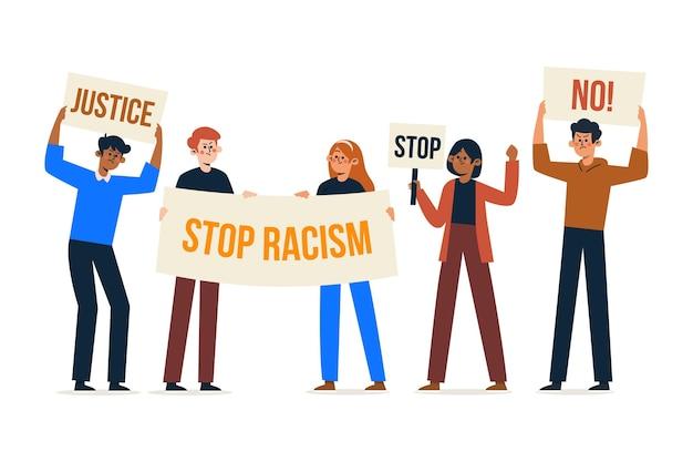 人種差別に対する抗議に参加している人々のグループ 無料ベクター