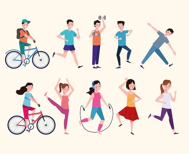 건강한 라이프 스타일 일러스트레이션을 연습하는 사람들의 그룹 프리미엄 벡터