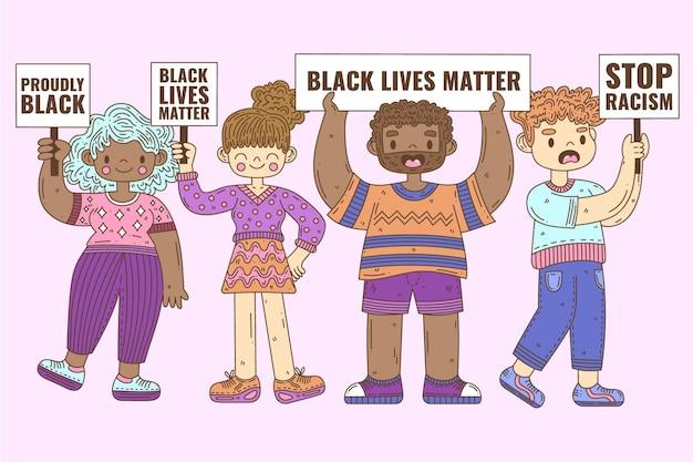 人種差別に抗議する人々のグループ 無料ベクター