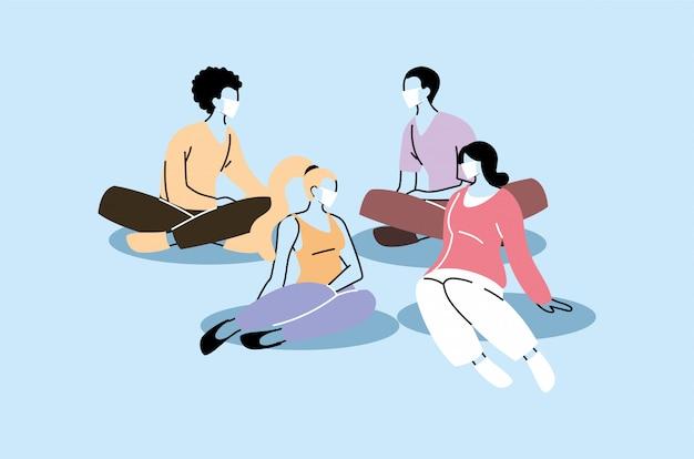 Группа людей, сидящих с маской Premium векторы