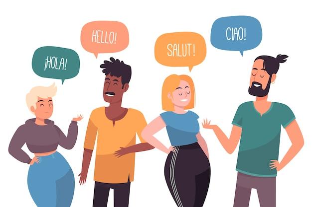 Группа людей, говорящих на разных языках Premium векторы