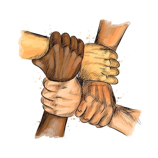 Группа людей объединила руки, выражая позитивные, концепции совместной работы. Premium векторы
