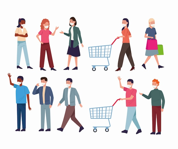 의료 마스크와 쇼핑 카트를 착용하는 사람들의 그룹 프리미엄 벡터