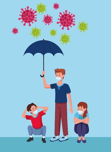 우산 문자 일러스트와 함께 의료 마스크를 착용하는 사람들의 그룹 프리미엄 벡터