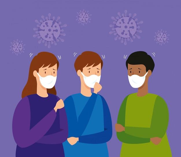 防護マスクを持つ人々のグループ 無料ベクター