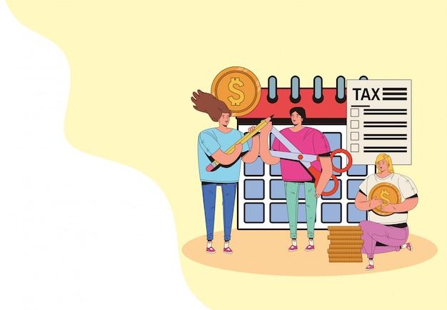 税の日を持つ人々のグループはイラストデザインを支払う Premiumベクター