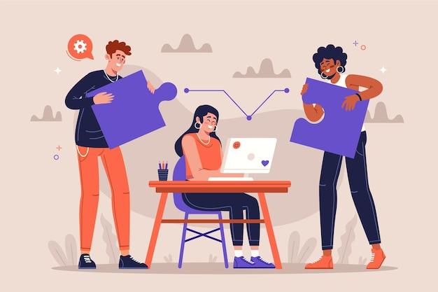 Группа людей, работающих вместе Бесплатные векторы