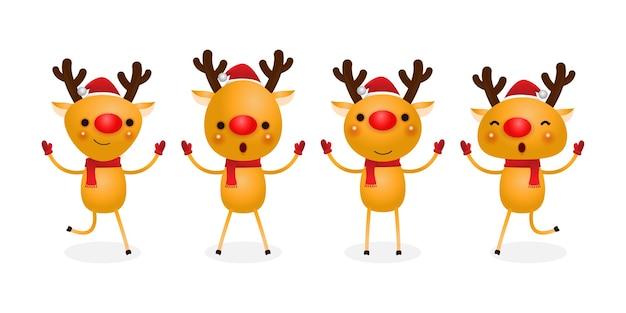 Группа оленей в рождественских шапках Premium векторы