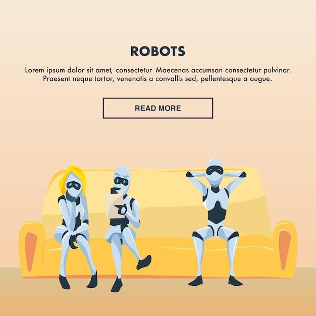 ロボット従業員のグループが快適なソファに座る 無料ベクター