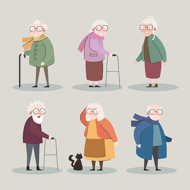 여섯 조부모 아바타 문자 벡터 일러스트 디자인의 그룹 프리미엄 벡터