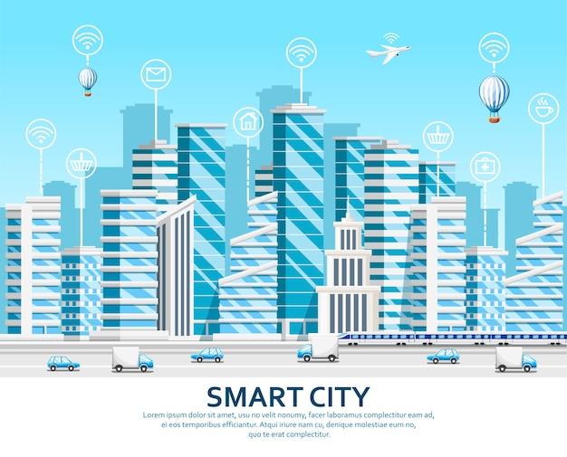 高層ビルのグループ。都市の要素。スマートサービスとアイコン、物事のインターネットとスマートシティのコンセプト。空を背景にイラスト。 webサイトページとモバイルアプリ。 Premiumベクター