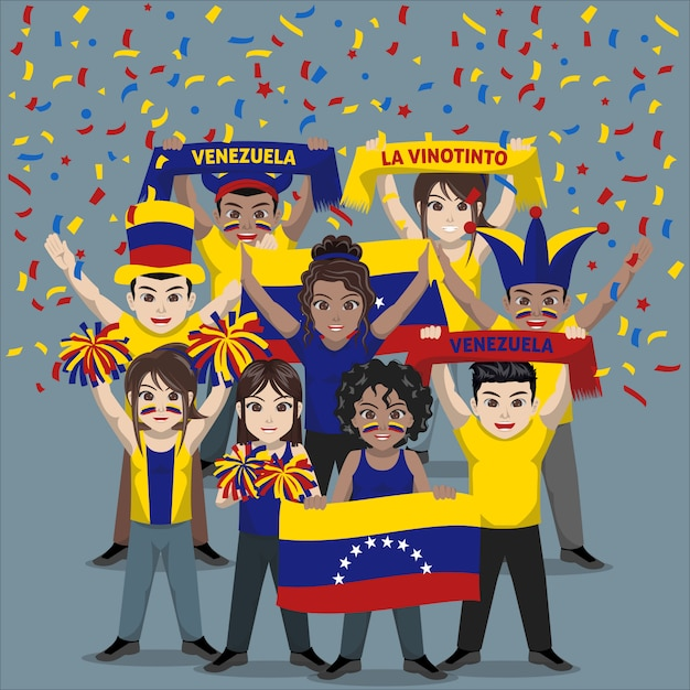 Группа болельщиков из сборной венесуэлы по футболу Premium векторы