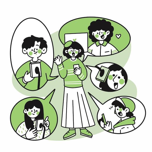 Группа подростков, подключенных через каракули видеозвонка Premium векторы