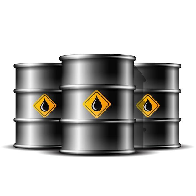 白い背景の上に原油を格納するための3つの黒い標準的な金属バレルのグループ。 Premiumベクター