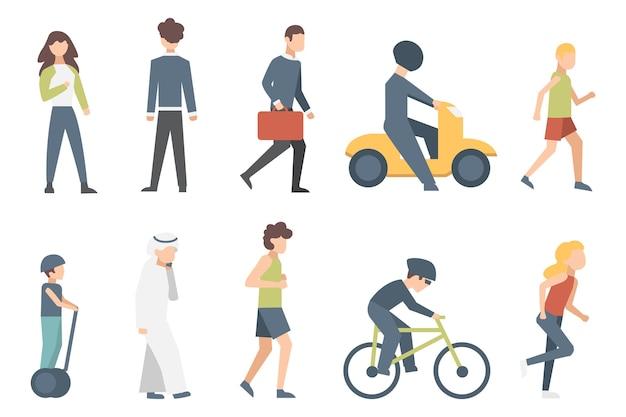街の通りで自転車に乗る小さな人々のグループ。分離された男性と女性の漫画のキャラクターのイラスト。 Premiumベクター