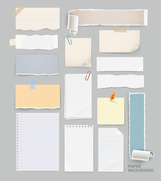 灰色で分離された破れた紙の背景のグループ Premiumベクター