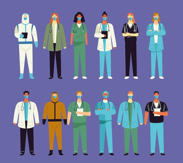 12 명의 의사 의료진 문자 그룹 프리미엄 벡터