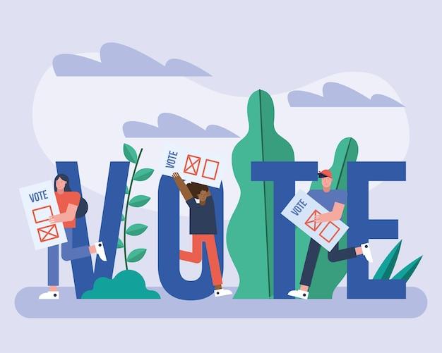 投票カードと手紙選挙日のベクトルイラストデザインを持つ有権者のグループ Premiumベクター