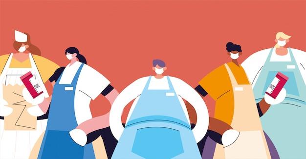フェイスマスクと制服のウェイターのグループ Premiumベクター