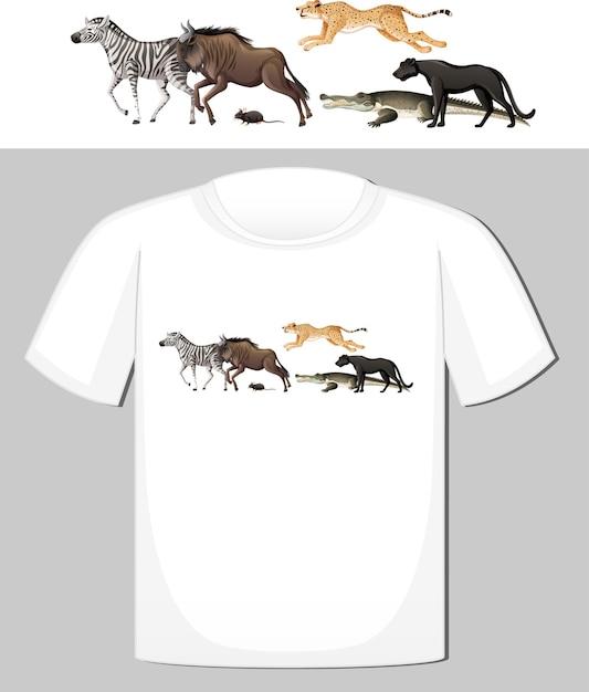 Группа диких животных дизайн для футболки Бесплатные векторы