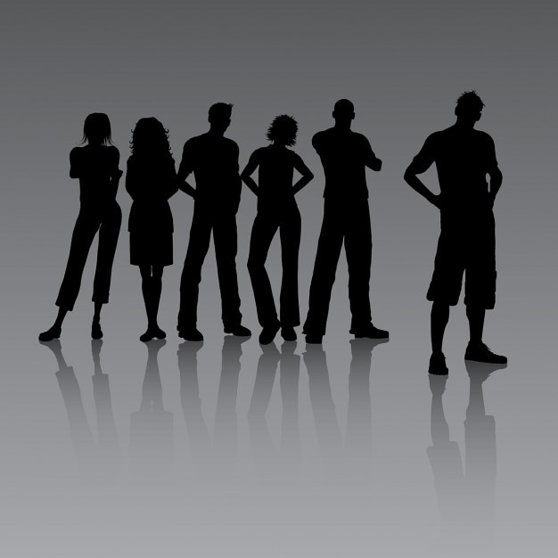 Group of young casual people Free Vector