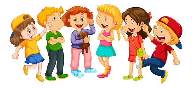 白い背景の上の幼児の漫画のキャラクターのグループ 無料ベクター