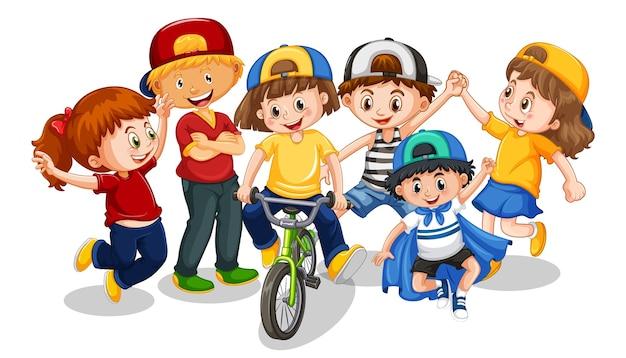 Группа маленьких детей мультипликационный персонаж на белом фоне Бесплатные векторы