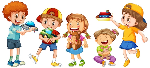 Группа маленьких детей мультипликационный персонаж на белом Бесплатные векторы