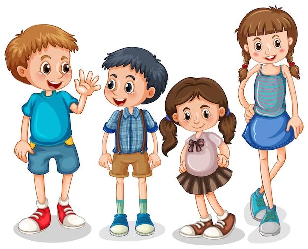 Группа маленьких детей Бесплатные векторы