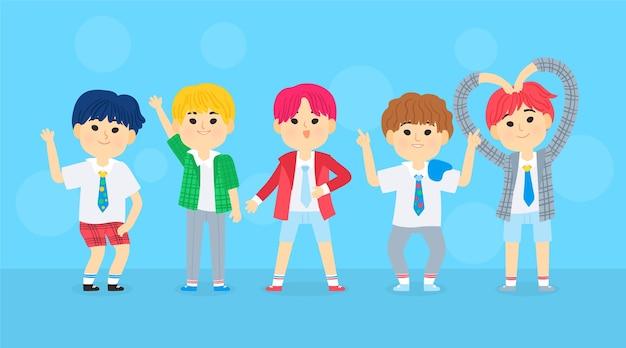 Группа молодых девушек k-pop Бесплатные векторы